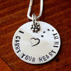 """This """"I carry your heart in my… Heart""""charm necklaceis a great sympathy gift and memorial jewelry gift to keep loved ones close to your he..."""