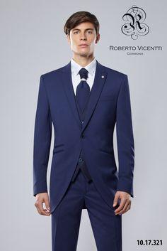 Roverto Vicenti,semichaqué azul Klein 100% lana 110`s.