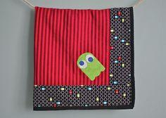 Arcade video gamer red stripe baby blanket bib and burp cloth set. $50.00, via Etsy.