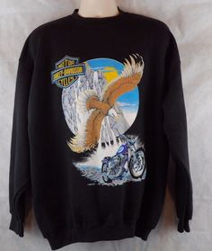 Licensed Harley Davidson Eagle & Motorcycle Black Sweatshirt Sz XL USA Made EUC #HarleyDavidson #SweatshirtCrew