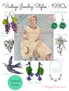 jewelry designs drew inspiration from the natural world - flowers… Vintage Outfits, Vintage Fashion, Vintage Style, 1930s Fashion, Classic Fashion, Vintage Beauty, Timeless Fashion, High Fashion, Women's Fashion