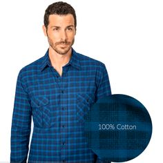 Blue flannel shirt gives a nice casual touch to any man's winter style - Design your custom Blue Flannel Shirt, Plaid Flannel, Blue Plaid, Flannel Shirts, Electric Blue, Blue Fabric, Winter Style, Custom Made, Winter Fashion