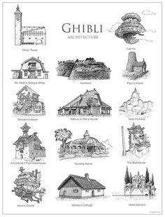Studio Ghibli Cartography Brushes by ammmanda on DeviantArt Art Studio Ghibli, Studio Ghibli Films, Totoro, Personajes Studio Ghibli, Arte Do Kawaii, Posca Art, 3d Modelle, Howls Moving Castle, Hayao Miyazaki
