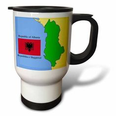 3dRose Flag and Map of Albania with Republic of Albania printed in English and Albanian., Travel Mug, 14oz, Stainless Steel