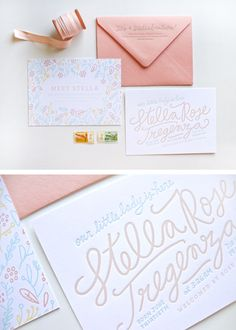 Letterpress Birth Announcements in Coral and Mint