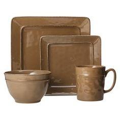 Threshold™ Wellsbridge Square Ceramic 16 Piece Dinnerware Set - Maverick Brown