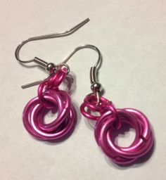 Rose Love Knot Mobius Earrings  Chainmail / by tigermaille on Etsy, $13.00