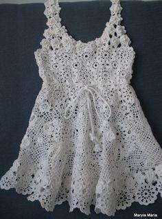 sukienka dla dziewczynki - szydełko koronka irlandzka // dress for girls - crochet, lace Irish
