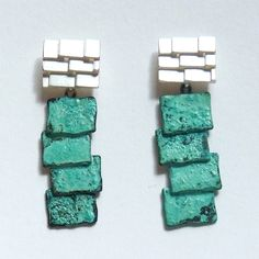 silver & patina roof earrings | Contemporary Earrings by contemporary jewellery designer mariko sumioka