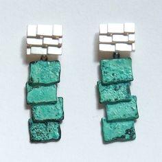 silver & patina roof earrings   Contemporary Earrings by contemporary jewellery designer mariko sumioka