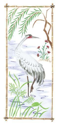 Large+Oriental++Bird+Screen+Wall+Stencil
