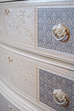 On hold for Courtney Beautiful Vintage French Provincial Grey Cottage White Embossed Dresser / Chest of Drawers.its all in the details. Rustic Wood Furniture, Distressed Furniture, Refurbished Furniture, Repurposed Furniture, Shabby Chic Furniture, Shabby Chic Decor, Furniture Makeover, Painted Furniture, Furniture Projects