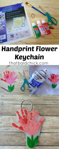 Make this Handprint Flower Keychain with a few simple supplies.  See how at thatbaldchick.com via @thatbaldchick
