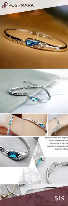 Simply Chic Bracelet Brand New Boutique Quality Absolutely Stunning Silver Plated Beautiful Blue Crystal Best fits Ladies with small wrist 🌹 Jewelry Bracelets