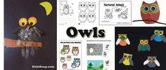 Owls activities, crafts, lessons, games for preschool and kindergarten