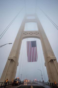 Memorial Day 2017 flag raising on Mackinac Bridge