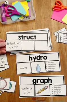 Greek and Latin Root Word Wall Cards and Sorts Teaching Grammar, Teaching Reading, Teaching English, Teaching Spanish, Spanish Lessons, Learning, Reading Workshop, Reading Skills, Word Study
