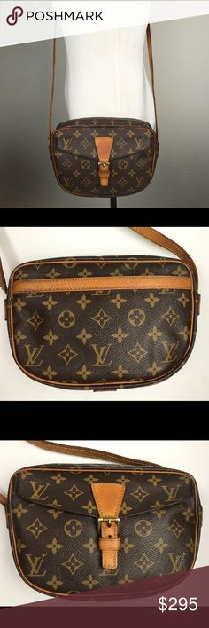 Louis Vuitton Monogram Jeune Fille cross body bag Fab Louis Vuitton Monogram cross body in pre-loved vintage condition. Perfect for all your essentials and great for hands free shopping. Monogram canvas is very nice!. Interior cross grain lining is good no heavy stains or odors. Both zippered interior pocket and exterior pockets are sticky and cannot be used which is very typical for vintage LV bags. Leather trim is a lovely medium honey patina. Zipper runs smoothly. All piping and corners…