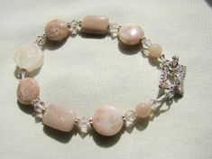 Peach Sunstone Bracelet, Carved Pink Aventurine Stone Flower Bracelet, Pink Agate, Crystals, Fancy Sterling Silver Toggle, Ready To Ship