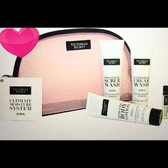 Victoria's Secret Ultimate Moisture System! NWT! Brand new VS Ultimate Moisture System.  NWT!  Includes: VS zippered cosmetic bag, VS Smoothing Scrub, VS Ultra Rich Cream Wash, VS Hydrating Body Lotion, VS Weightless Body Oil.  All products contain 30 ml/1 fl. oz. Victoria's Secret Other