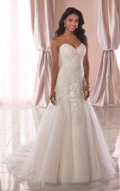 Wedding Dresses Simple Rustic 6764 Classic A-Line Wedding Dress with Silver Beading by Stella York.Wedding Dresses Simple Rustic 6764 Classic A-Line Wedding Dress with Silver Beading by Stella York Classic Wedding Dress, Perfect Wedding Dress, Best Wedding Dresses, Bridal Dresses, Wedding Gowns, Wedding Attire, Bridesmaid Dresses, Wedding Dress Organza, Sweetheart Wedding Dress