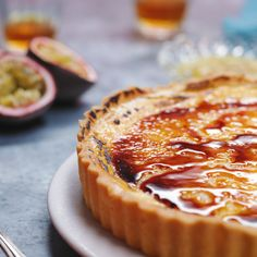 Recipe with video instructions: This giant creme brulee tart was the most satisfying sugar topping. The passion fruit filling gives our custard filling the perfect edge! Flan, Tart Recipes, Sweet Recipes, Passionfruit Recipes, Passionfruit Tart, Pie Dessert, Dessert Recipes, Passion Fruit Cake, Sweet Tarts
