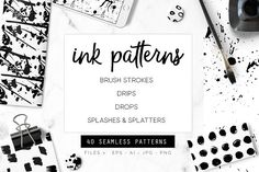 Ink Patterns by Youandigraphics on @creativemarket