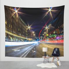 Light Trails 2 Wall Tapestry by Nicklas Gustafsson | Society6  #long #exposure #longexposure #night #photography #lighttrails #light #neon #city #street #stockholm #hdr #walltapestry #tapestry