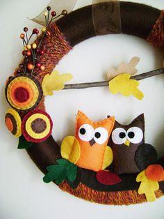 Felt and Yarn Wreath - Autumn Harvest Owls - Fall Leaves Brown Orange Gold