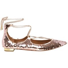 Aquazzura Christy sequinned flats (960 CAD) ❤ liked on Polyvore featuring shoes, flats, light pink, flat pumps, glitter flats, glitter flat shoes, silver sequin shoes and silver sequin flats