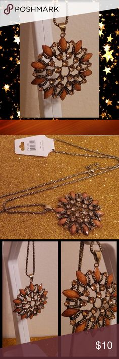 "Amber Flower Pendant Long Chain Necklace BNWT Amber marble stone n rhinestone flower pendant necklace  Chunky fashion jewelry 32"" long chain Boho hippie necklace   Price is firm 💯Brand new High quality💯 💯What u see is what u get💯 ➕10 off 2 or more➕ ❤Please check out my closet❤ ⛔All prices have Been reduced⛔ ✔Buy with confidence ⭐⭐⭐⭐⭐ Top Rated Seller ⚡next day shipping ❤Trying to raise money 4 my family thank u all 4 every share like n purchase❤ Jewelry Necklaces"
