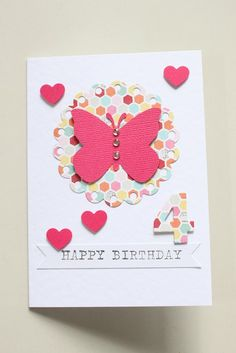 Girls Birthday Card - Butterfly Hearts - by LittleThings on madeit