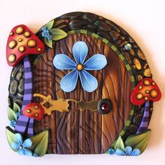 Wild Mushroom Fairy Door Pixie Portal Kids Room Decor via Etsy Polymer Clay Fairy, Polymer Clay Projects, Diy Clay, Clay Crafts, Create A Fairy, Clay Fairies, Clay Figurine, Biscuit, Fairy Doors
