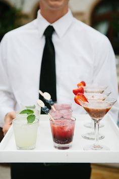 Trio of cocktails | Photography: Heather Kincaid - heatherkincaid.com  Read More: http://www.stylemepretty.com/california-weddings/2014/05/23/romantic-elegance-at-bel-air-private-estate/
