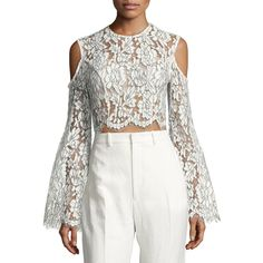 Keepsake Porcelain Lace Fringe Crop Top ($83) ❤ liked on Polyvore featuring tops, ivory, open shoulder tops, lace bell-sleeve tops, lace top, cold shoulder tops and lace crop top