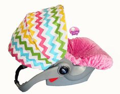 Infant Car Seat Cover Baby Car Seat Cover in Rainbow by ChubbyBaby, $65.00