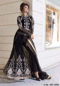 Graceful Black Semi Stiched Anarkali Suit