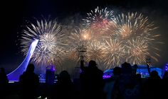 Description of . Fireworks explode for the Closing Ceremony at Fisht Olympic Stadium for the 2014 Winter Olympics in Sochi, Russia, on Sunda...