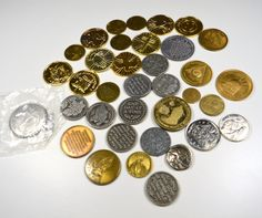 Lot of 36 Religious Tokens Coins Rounds Metal Plastic Assorted Styles Designs