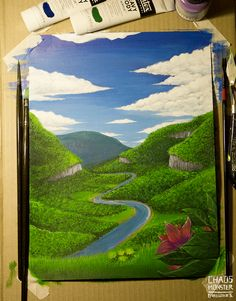 Acrylic painting of an imaginary valley. Monster, Traditional Art, Golf Courses, My Arts, Ink, Painting, Painting Art, Paintings, India Ink