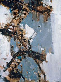 by Vladimir Semensky Imantau village, Kazakhstan) Urban Landscape, Abstract Landscape, Landscape Paintings, Industrial Paintings, Art Alevel, Urban Painting, Urbane Kunst, Abstract City, Building Art