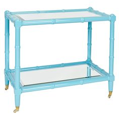 Worlds Away Palm Turquoise Lacquer Wooden Bar Cart Beveled Mirror Top