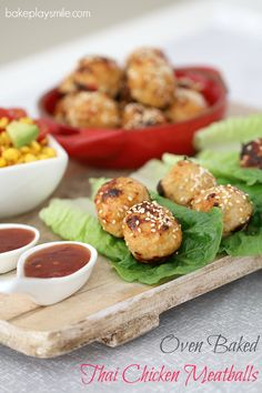Deliciously simple Oven Baked Thai Chicken Meatballs served in lettuce leaves with a sweet chilli dipping sauce. Fast, fresh and yummy.