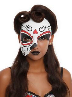 Day Of The Dead Half Mask | Hot Topic