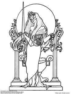 Justice Tarot art nouveau colouring page by marylayton