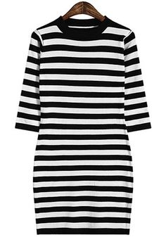 Stretchy Striped Sweater Dress