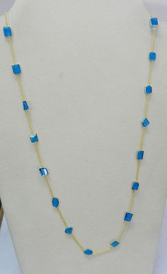 Blue Quartz gemstone brass 18k gold vermeil bezel long chain primrose necklace