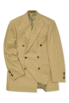 This camel coloured jacket is cut in a luxurious blend of wool and cashmere, woven by Kynoch in Scotland, a traditional mill that specialises in weaving luxury jacketing cloths. Double Breasted Jacket, Camel, Cashmere, Suit Jacket, Jackets, Clothes, Fashion, Down Jackets, Outfits