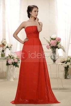 Empire Strapless Floor Length Bridesmaid Dress : Tidebuy.com