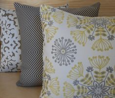 Pair of yellow and gray floral medallion by pillowflightpdx, $56.00